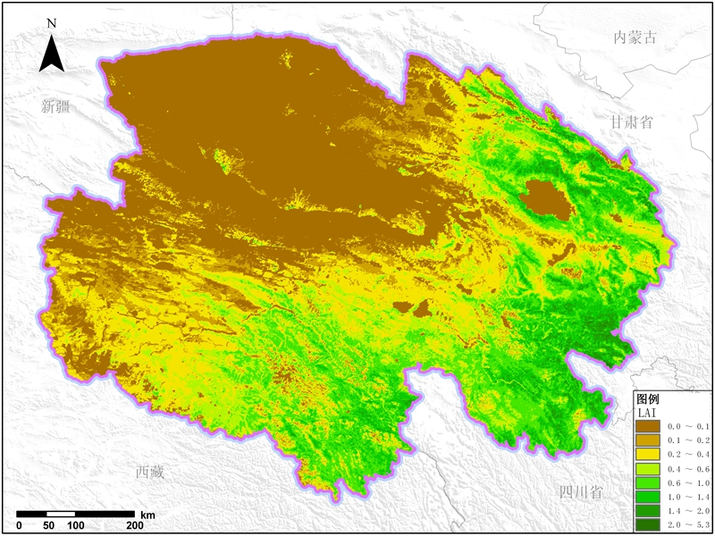 多种卫星遥感数据反演青海省叶面积指数(lai)产品