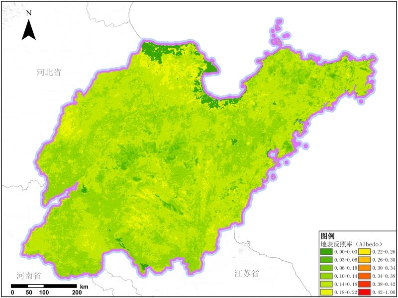 多种卫星遥感数据反演山东省地表反照率(albebo)产品