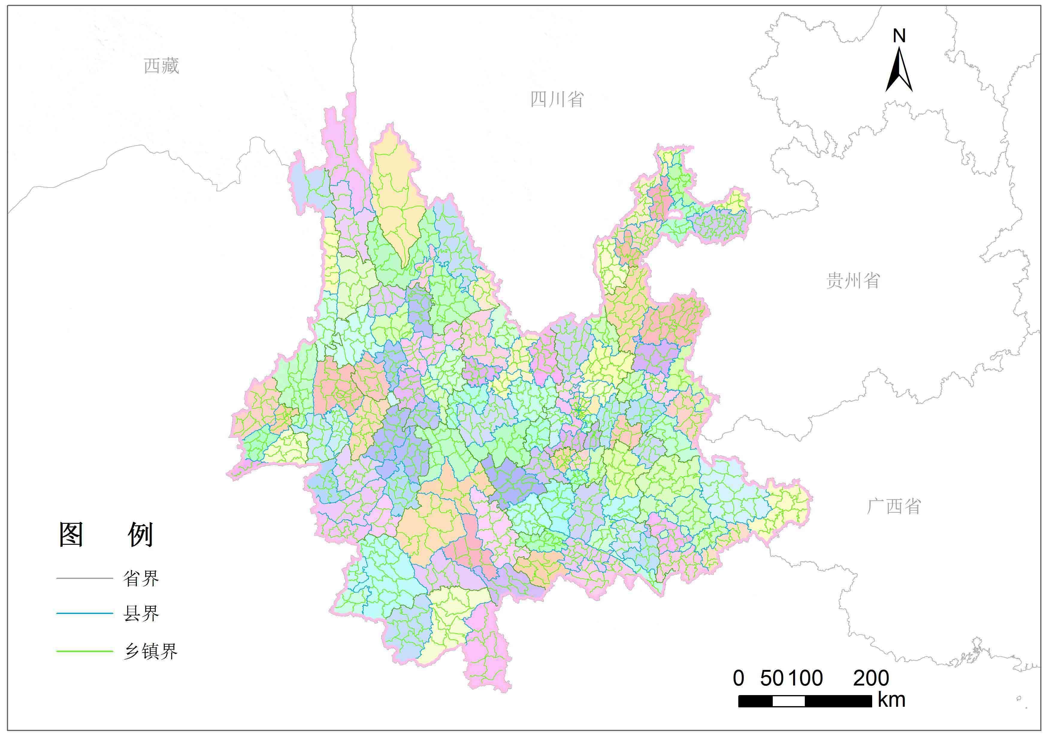 云南省乡镇行政区划-地图数据-地理国情监测云平台